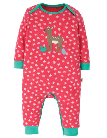 Image of Frugi Charlie Romper - Watermelon Cherry Blossom/Deer