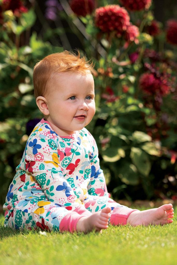 Frugi Summer Zip Babygrow - Mini Butterflies
