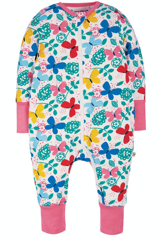 Image of Frugi Summer Zip Babygrow - Mini Butterflies