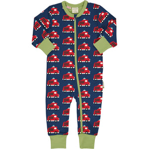 Maxomorra Long Sleeve Rompersuit -  Fire Truck