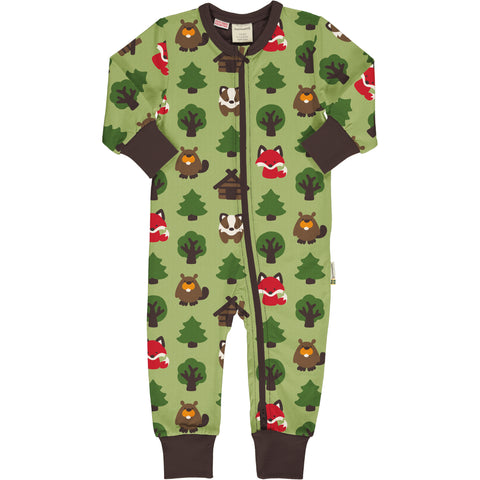 Maxomorra Long Sleeve Rompersuit -  Green Forest