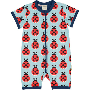 Maxomorra Short Sleeve Zip Romper - Lazy Ladybug