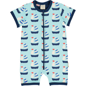 Maxomorra Short Sleave Romper - Sailboat