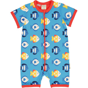 Maxomorra Short Sleave Romper - Tropical Aquarium