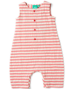 LGR Red Seersucker Playsuit - Organic Cotton