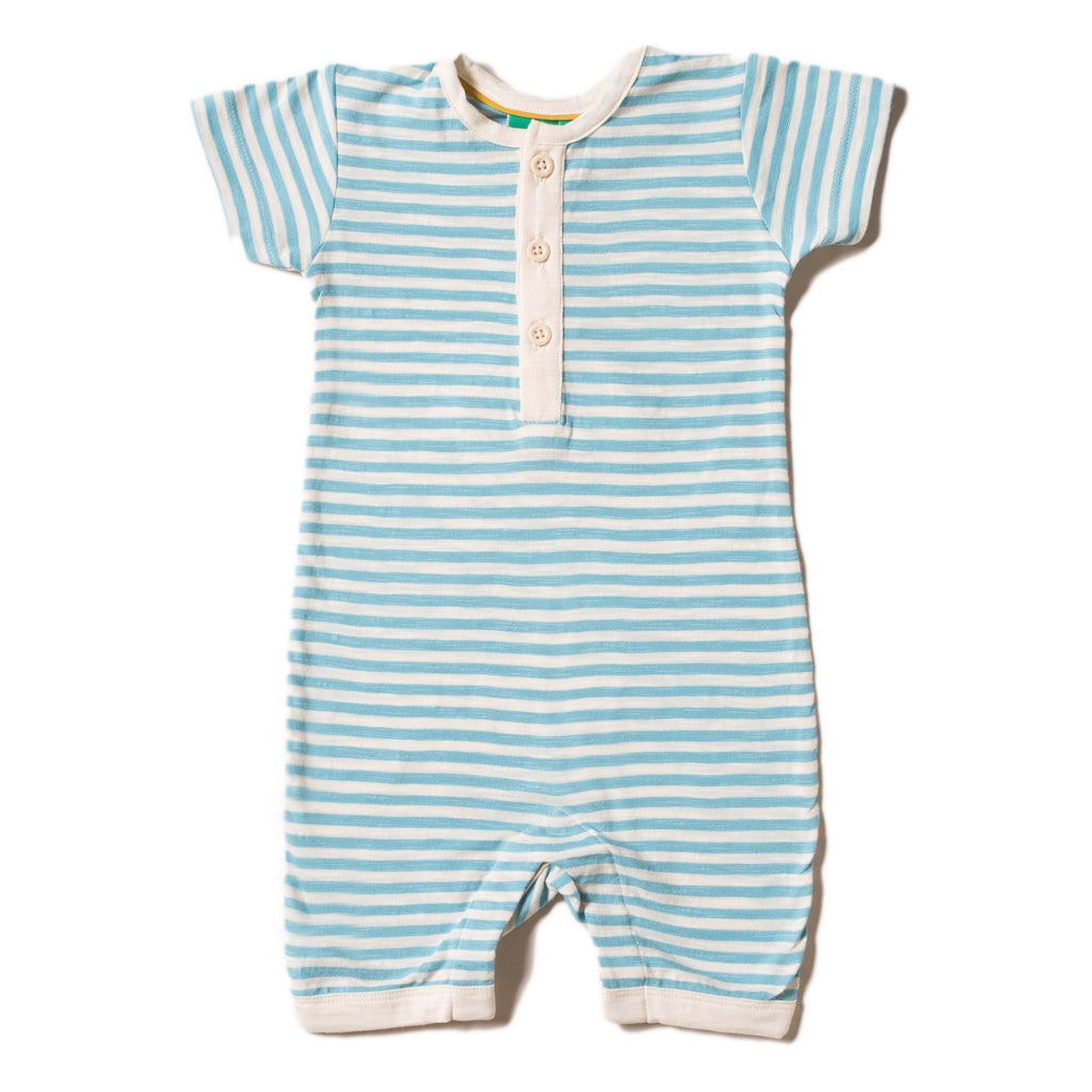 LGR Shortie Babygrow - Corn Silk Blue Stripe