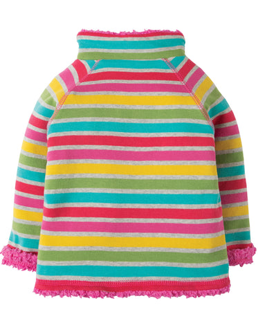 Frugi Little Snuggle Fleece - Rainbow Marl Breton - Organic Cotton