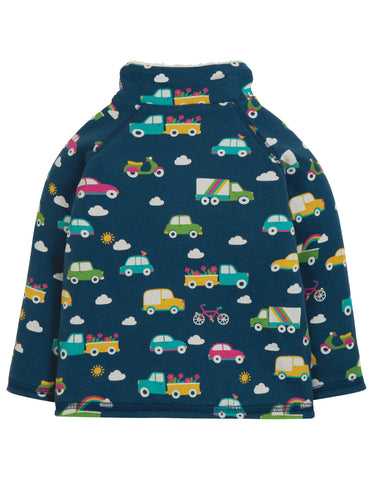 Frugi Snuggle Fleece - Space Blue Rainbow Roads