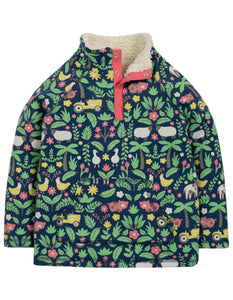 Frugi Snuggle Fleece - Marine Blue Farm Floral - Tilly & Jasper