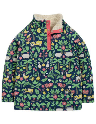 Image of Frugi Snuggle Fleece - Marine Blue Farm Floral - Tilly & Jasper
