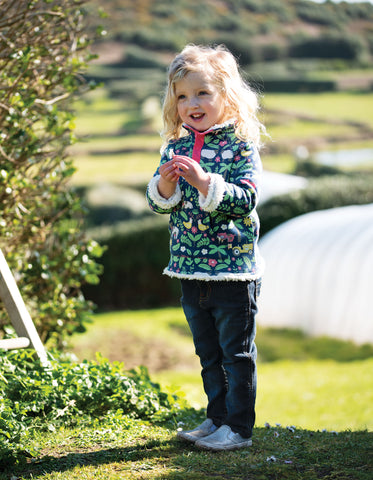 Frugi Snuggle Fleece - Marine Blue Farm Floral