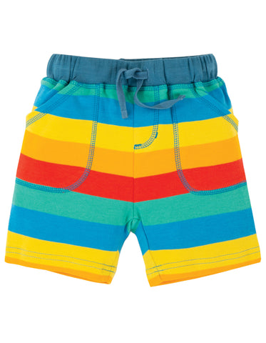 Image of Frugi Little Stripy Shorts - Multi Rainbow Stripe