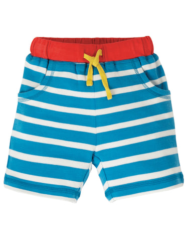 Image of Frugi Little Stripy Shorts - Motosu Blue Stripe