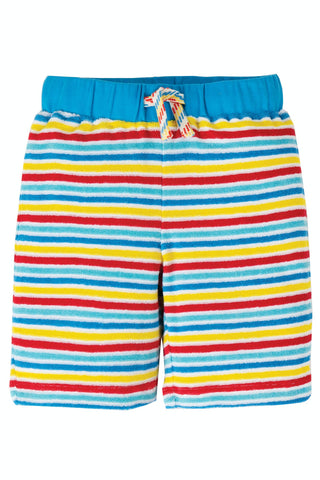Frugi Towelling Short - Soft White Rainbow Stripe