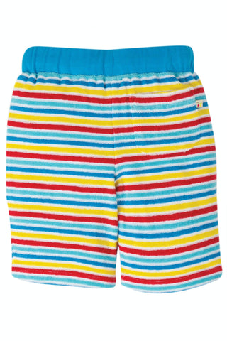 Image of Frugi Towelling Short - Soft White Rainbow Stripe