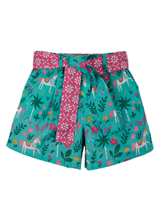 Frugi Seren Reversible Shorts - Aqua Indian Horse