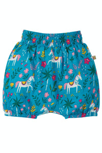 Frugi Steph Smocked Shorts - Teal Indian Horse