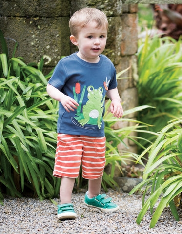Frugi Little Stripy Shorts - Warm Orange Breton - Tilly & Jasper