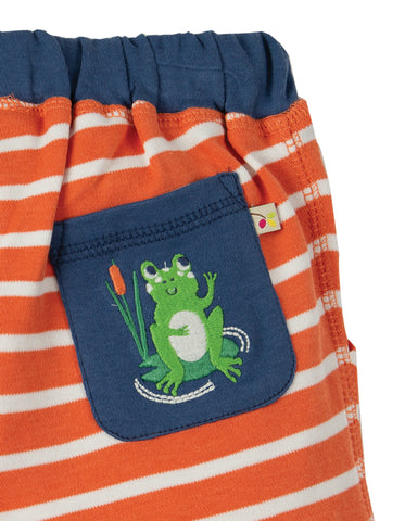 Image of Frugi Little Stripy Shorts - Warm Orange Breton - Tilly & Jasper