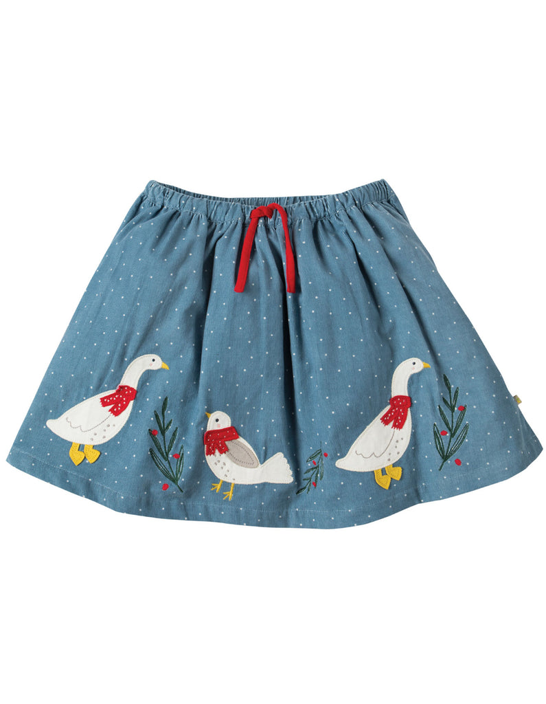 Frugi Tabby Twirly Skirt - Stone Blue Snowy Spot/Duck - Organic Cotton