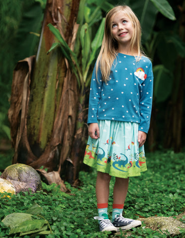 Frugi Twirly Dream Skirt - Prehistoric Park Scene