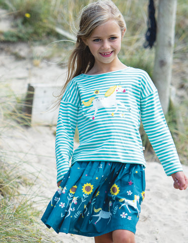 Image of Frugi Twirly Dream Skirt - Steely Blue Unicorn Skates