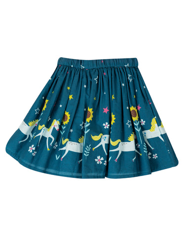 Frugi Twirly Dream Skirt - Steely Blue Unicorn Skates