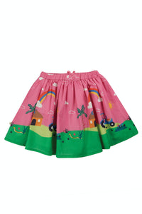 Frugi Twirly Dream Skirt - Mid Pink/Farm