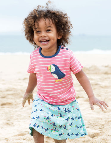 Frugi Parsnip Printed Skirt - St Agnes Paddling Puffins