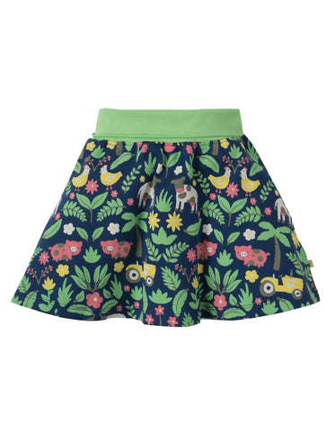 Image of Frugi Parsnip Printed Skirt - Marine Blue Farm Floral