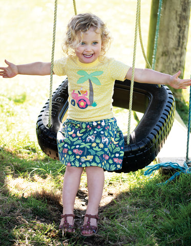 Image of Frugi Parsnip Printed Skirt - Marine Blue Farm Floral - Tilly & Jasper