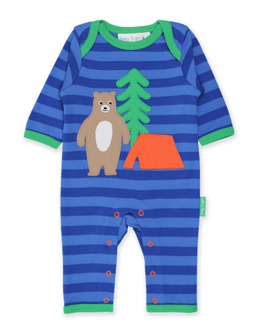 Image of Toby Tiger Camping Bear Applique Sleepsuit