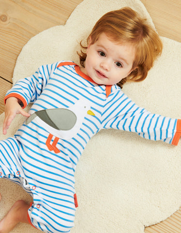 Image of Toby Tiger Seagull Applique Sleepsuit