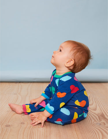Image of Toby Tiger Multi Heart Print Sleepsuit