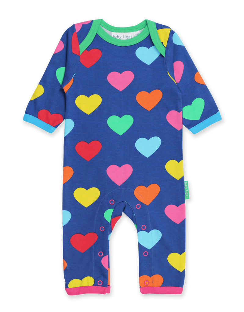 Toby Tiger Multi Heart Print Sleepsuit