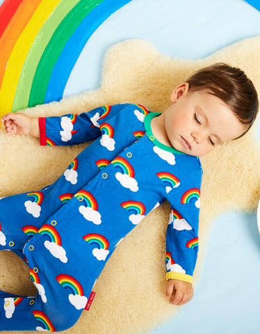 Image of Toby Tiger Rainbow Print Sleepsuit