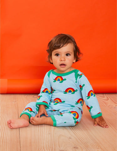 Image of Toby Tiger Multi Turtle Print Sleepsuit