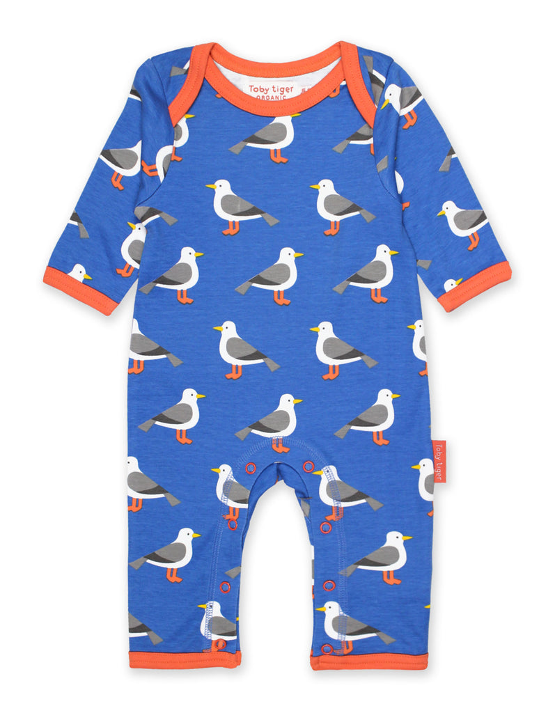 Toby Tiger Seagull Print Sleepsuit