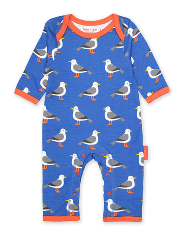 Image of Toby Tiger Seagull Print Sleepsuit