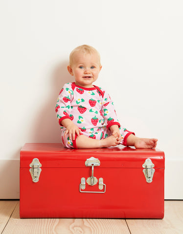 Image of Toby Tiger Strawberry Print Sleepsuit