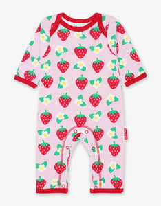 Toby Tiger Strawberry Print Sleepsuit