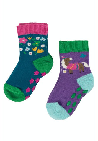 Frugi Grippy Socks 2 Pack -  Horse Multipack