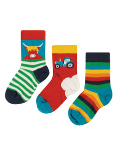 Frugi Little Socks 3 Pack - Tractor Multipack