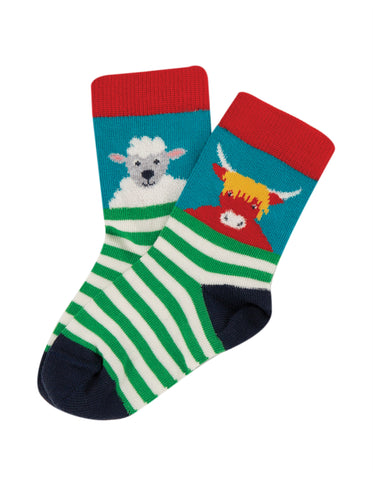 Image of Frugi Little Socks 3 Pack - Tractor Multipack