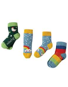 Frugi Little Socks 3 Pack - Chicken - Organic Cotton