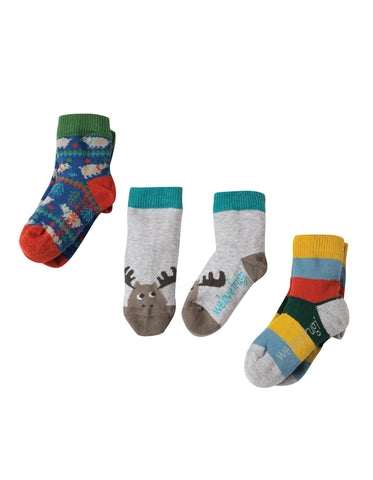 Image of Frugi Little Socks 3 Pack - Moose - Tilly & Jasper