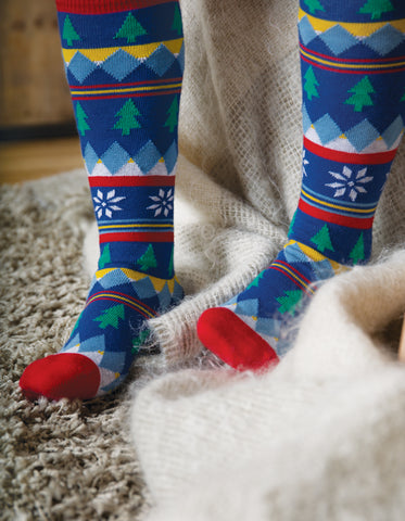 Image of Frugi Skye High Socks - Fir Tree Fairisle - Organic Cotton