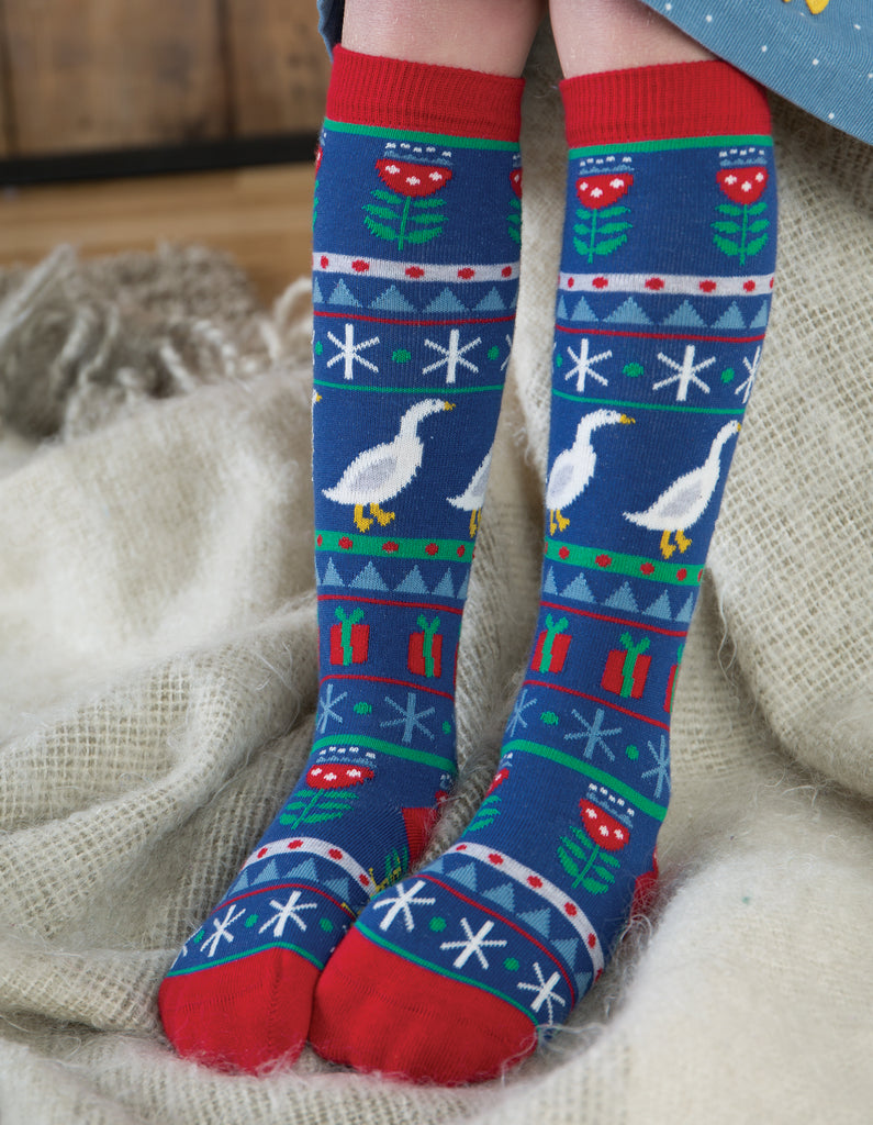 Frugi Skye High Socks - Geese Fairisle - Organic Cotton
