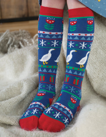 Image of Frugi Skye High Socks - Geese Fairisle