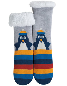 Frugi Cosy Up Socks - Grey Marl/Penguin - Tilly & Jasper